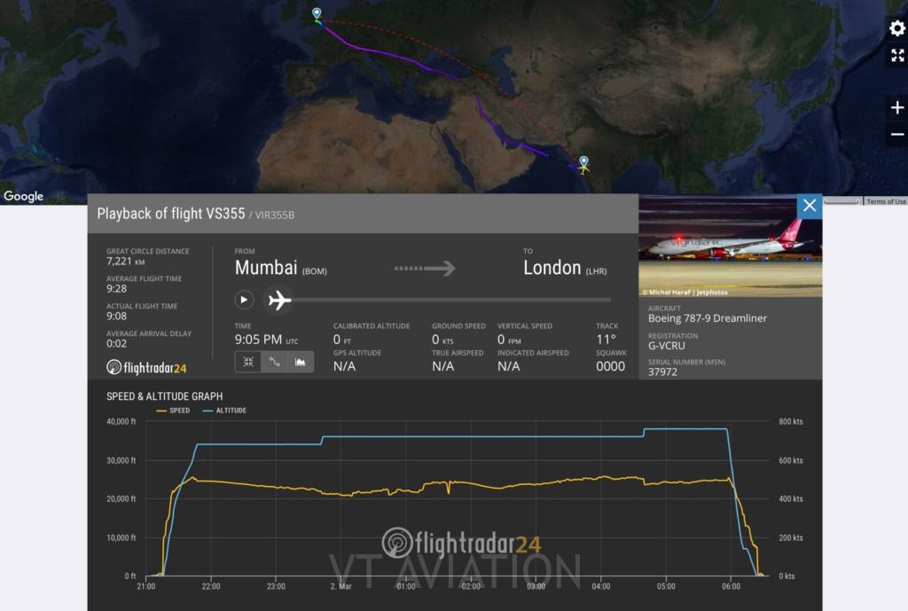 Flight path of VS355